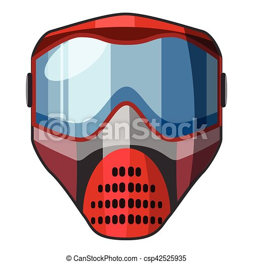 Red Mask For Paintball Icon Cartoon Style Red Mask For Paintball