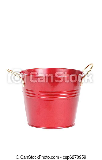 Red Metal Bucket on White Background - csp6270959