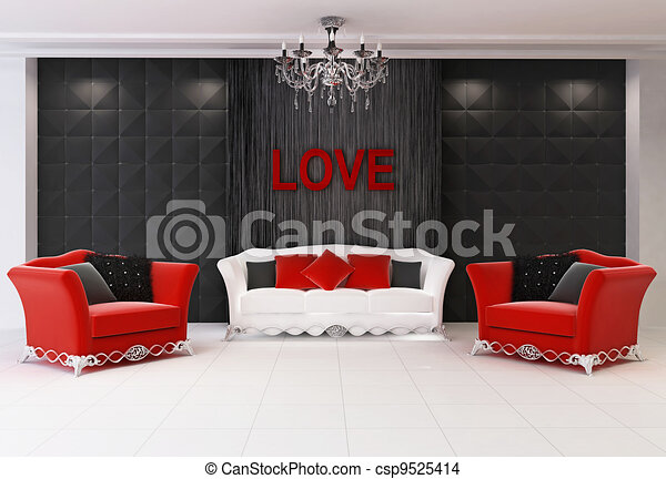 Red Modern Interior With Furniture, Two Armchairs And Comfort Sofa, Love    Csp9525414