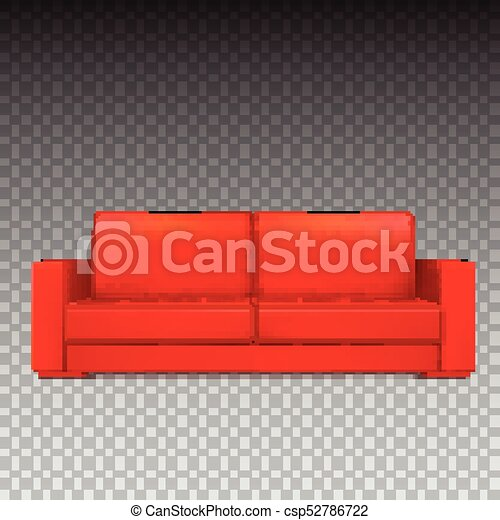 Red Modern Luxury Sofa For Living Room, Reception Or Lounge. Icon Of Single  Object, Realistic