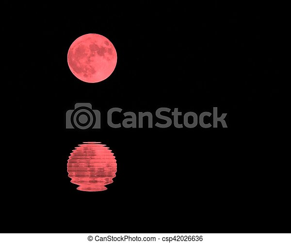 red moon in the dark sky on a night - csp42026636