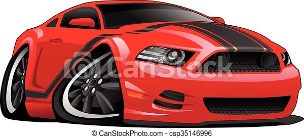 Red Muscle Car Cartoon Illustration Hot Modern American Muscle Car