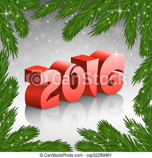 Red New Year 2016 and X-mas tree frame - csp32289981