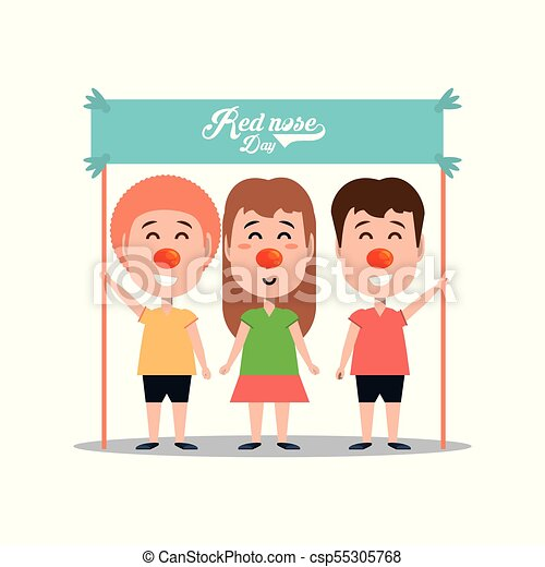 Red Nose Day Design Red Nose Day With Cartoon Kids Holding A Board Over White Background Colorful Design Vector Illustration