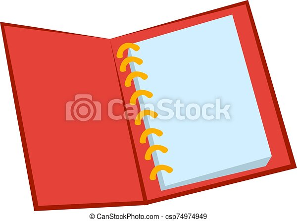 Red notebook, illustration, vector on white background. - csp74974949
