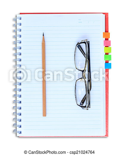 red notebook pencil and eyeglasses isolated on white background - csp21024764