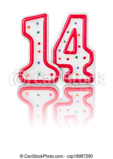Red number 14 with reflection on a white background stock ... on