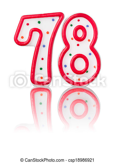 Red number 78 with reflection on a white background - csp18986921