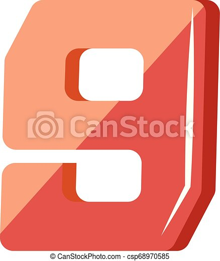 Red number nine illustration vector on white background - csp68970585