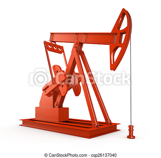Red oil rig on isolated white - csp26137040