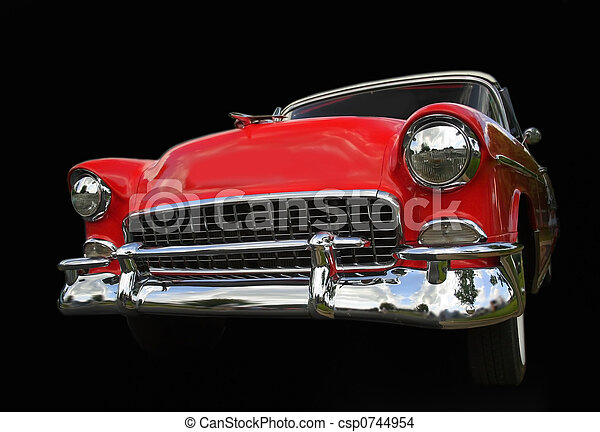 Red old chevy car - csp0744954