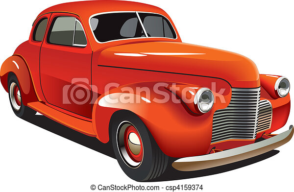 Red old-fashioned hot rod - csp4159374
