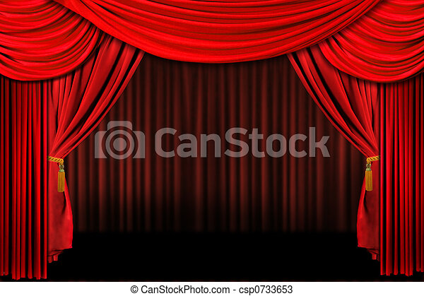 Red On Stage Theater Drapes - csp0733653