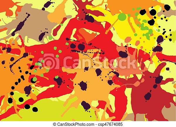 Red orange maroon ink splashes background - csp47674085