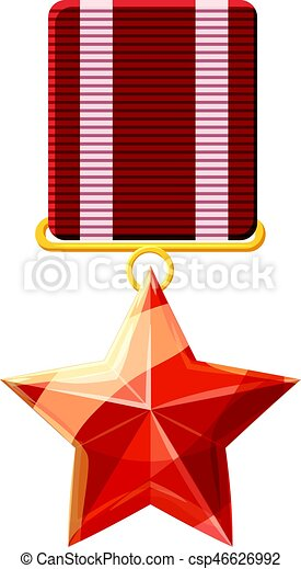 Red order with star icon, cartoon style - csp46626992