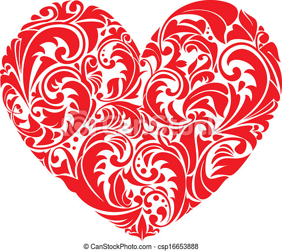 Red ornamental floral heart on white background. element ...