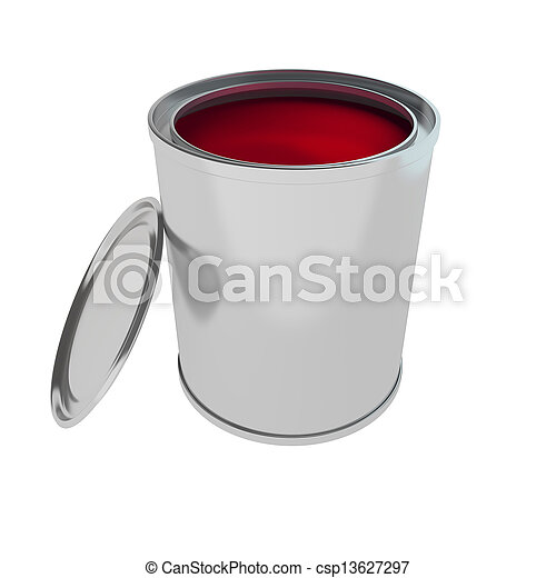 red Paint Can isolated on white - csp13627297