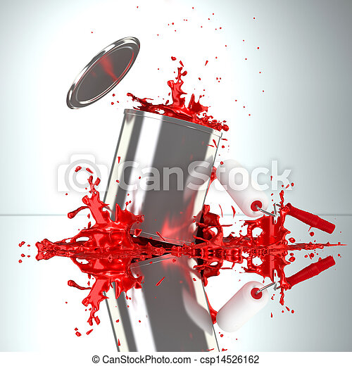 red Paint Can with roller brush and splash - csp14526162