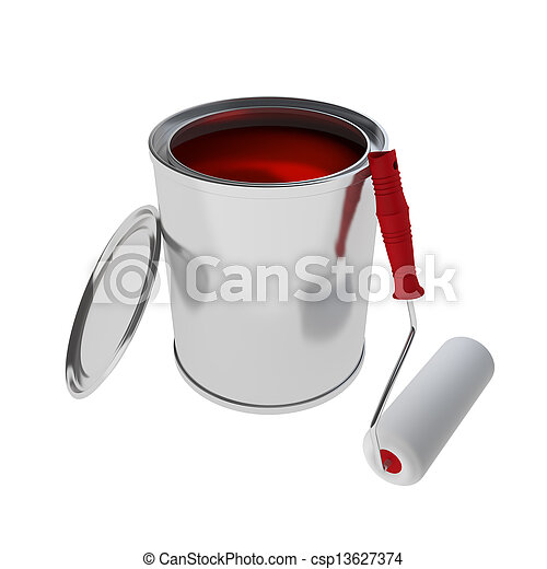 red Paint Can with roller brush isolated on white - csp13627374