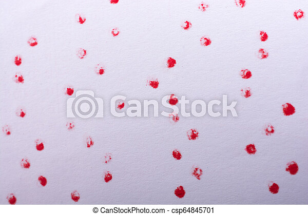 Red paint dots on a white background - csp64845701