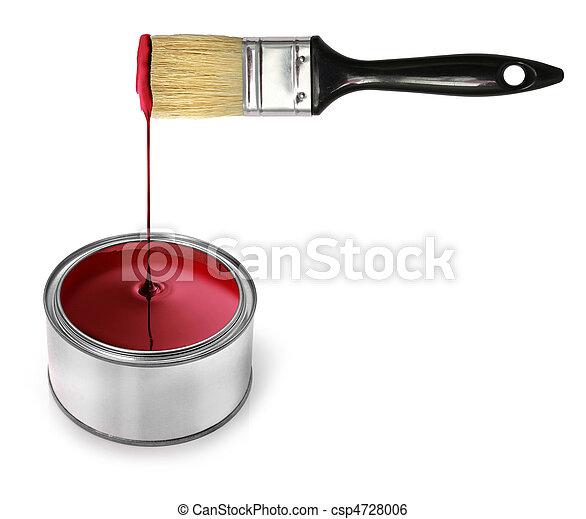 Red paint dripping brush - csp4728006