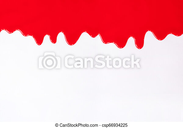 Red paint dripping on a white. - csp66934225
