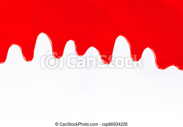 Red paint dripping on a white. - csp66934226