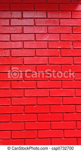 Red Painted Brick Wall - csp0732700