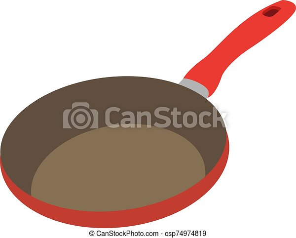 Red pan, illustration, vector on white background. - csp74974819