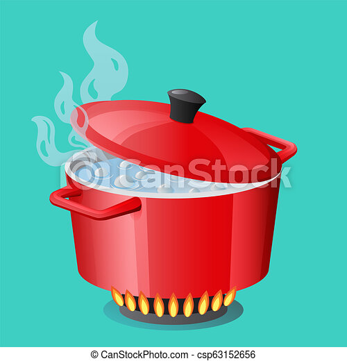 Red pan, saucepan, pot, casserole, cooker, stewpan with boiling water and closed pan lid vector isolated Cooking icon - csp63152656