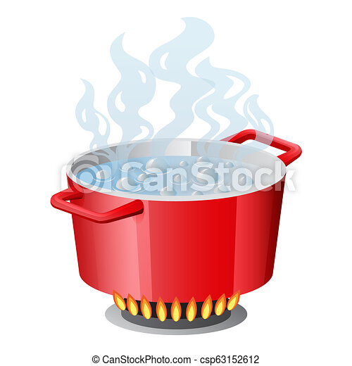 Red pan, saucepan, pot, casserole, cooker, stewpan with boiling water and opened pan lid vector isolated on white - csp63152612