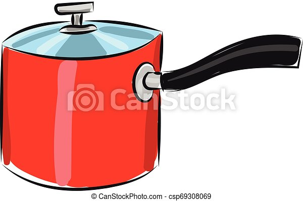 Red pan, vector or color illustration. - csp69308069