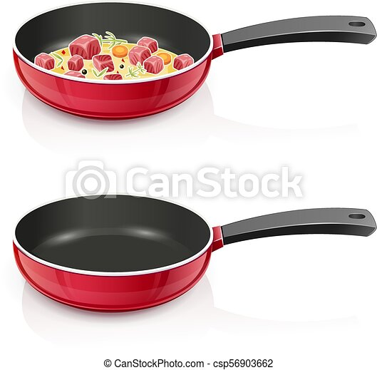 Red pan with lid. Kitchen tableware. Cooking food. - csp56903662