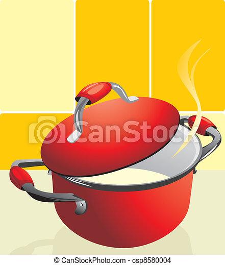 Red pan with porridge - csp8580004