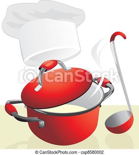 Red pan with porridge. Meal time - csp8580002