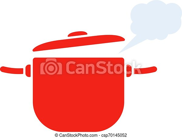 red pan with steam icon - csp70145052