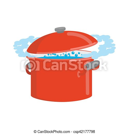 Red pan with water isolated. Kitchen utensils for cooking - csp42177798
