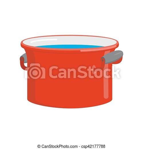 Red pan with water isolated. Kitchen utensils for cooking - csp42177788
