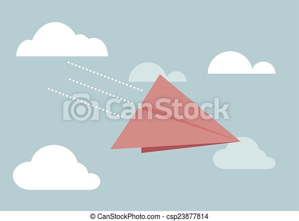 Red paper airplane flying in sky - csp23877814
