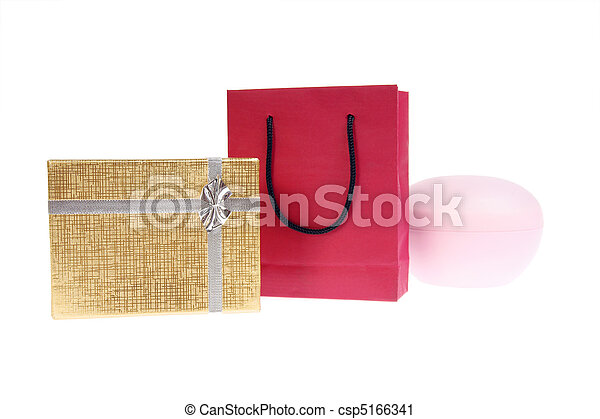 red paper bag and gold gift box with bow - csp5166341