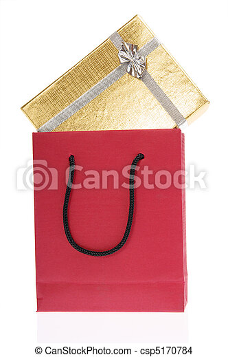 red paper bag and gold gift box with bow - csp5170784