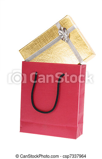 red paper bag and gold gift box with bow - csp7337964