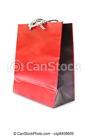 Red paper bag isolated on white background - csp8458609