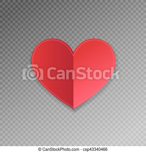 Red Paper Heart Shape Origami With Shadow On Transparence Background