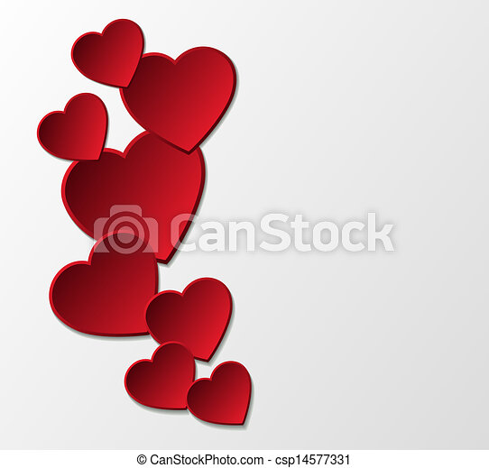 Red paper hearts background. - csp14577331
