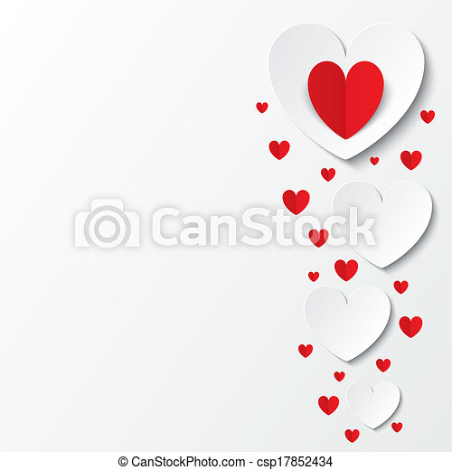 Red paper hearts Valentines day card on white - csp17852434