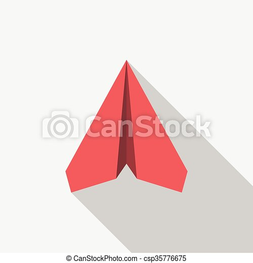 Red Paper Plane On Light Gray Background With Long Shadow Flat