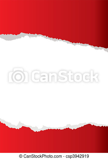red paper tear background - csp3942919