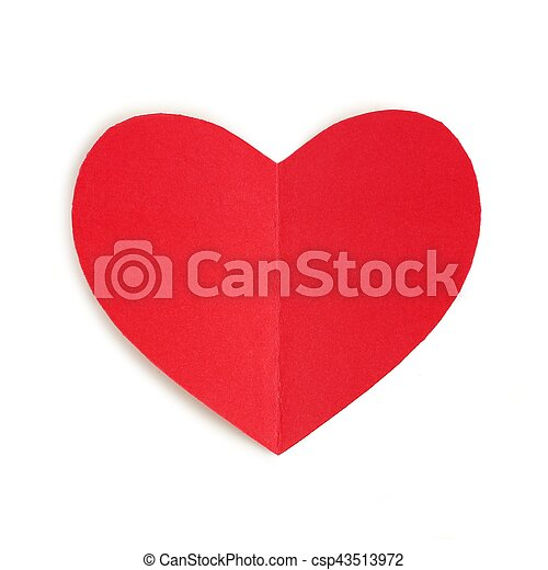 Red paper Valentines Day heart isolated - csp43513972