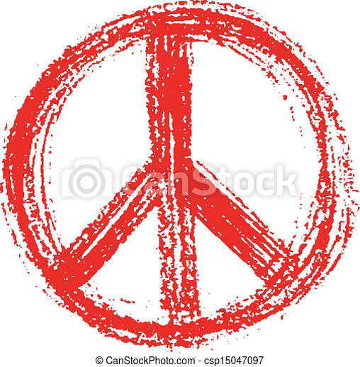 Red peace symbol created in grunge style. - csp15047097